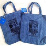 Denim tote bags with black ink design