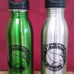 Monk Seal water bottle design: available in green or silver